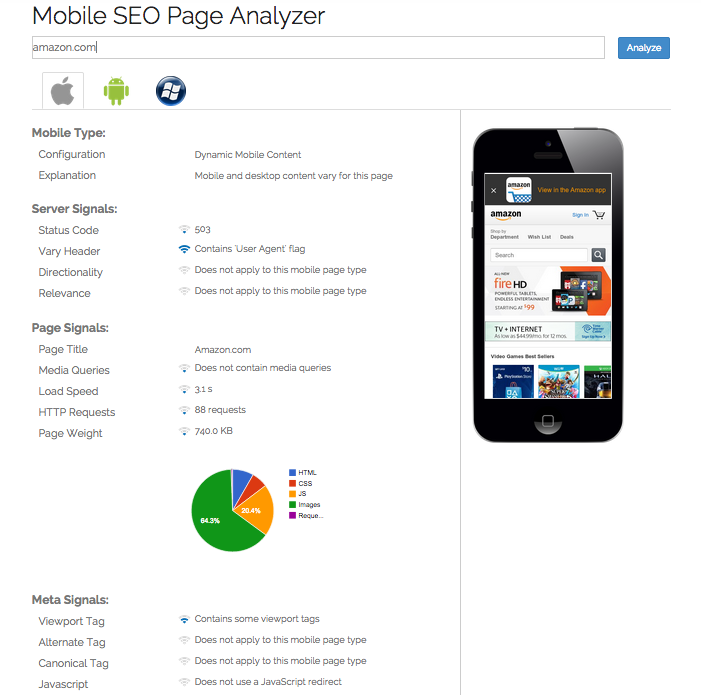 Mobile Page Analyzer's mobile SEO audit results for Amazon, showing the type of mobile page (eg separate mobile URLs, dynamic mobile serving, or responsive design) served to the iPhone, Android, and Windows Phone user-agents used by Google and Bing smartphone crawlers, followed by key mobile SEO signals detected for each mobile type, including mobile redirect configuration, use of bidirectional annotation tags, page speed, and more.
