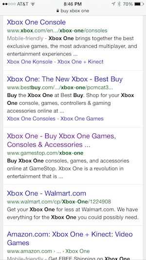 Mobile shoppers searching for Xbox One gifts this holiday season will find a new label on retailer listings that Google views as mobile-friendly. In this case, product pages at xbox.com and Amazon.com have the mobile-friendly label, while Best Buy, Walmart, and GameStop pages do not. This may discourage mobile searchers from clicking these brands to purchase.