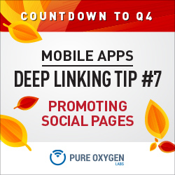 Promote branded social pages via deep linking to mobile social apps vs. mobile web