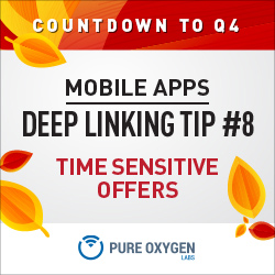 Promoting time sensitive offers by deep linking to your app