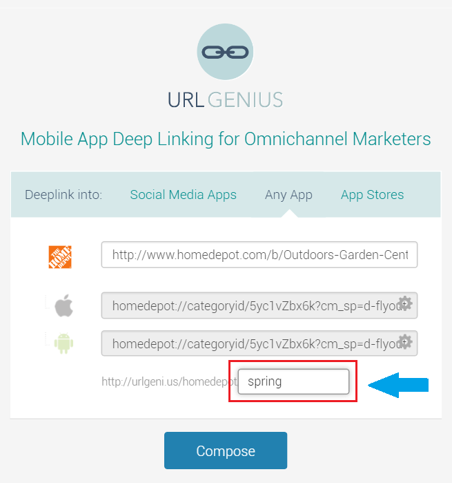 URLgenius mobile deep linking with custom paths