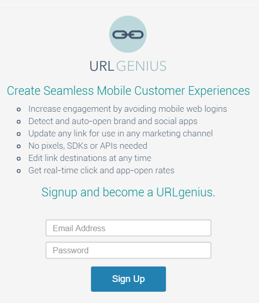 Sign-up for URLgenius Deep Linking to iOS or Android