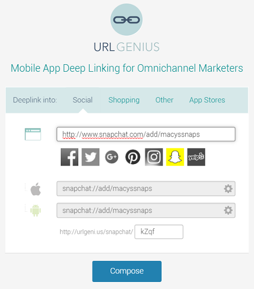 Deep linking to Snapchat profile links with URLgenius to track app opens