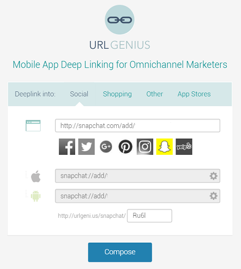 Deep linking to Snapchat from email and other channels.
