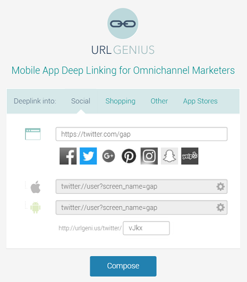 Deep linking to Twitter for App Analytics