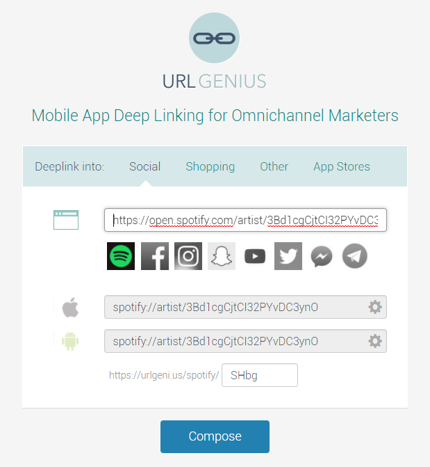 Deep Linking to the Spotify App to Track App Opens