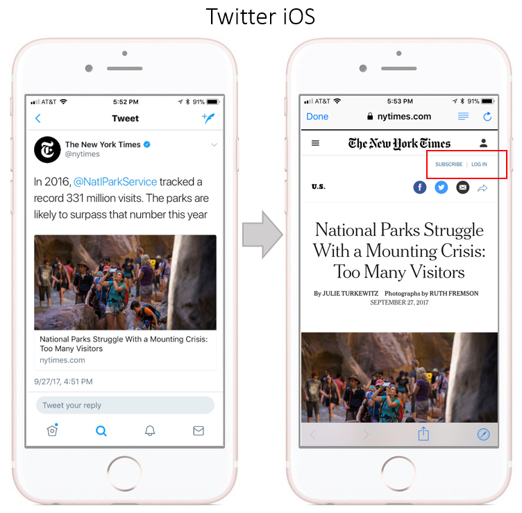 New York Times App Blocked from Twitter App on iOS