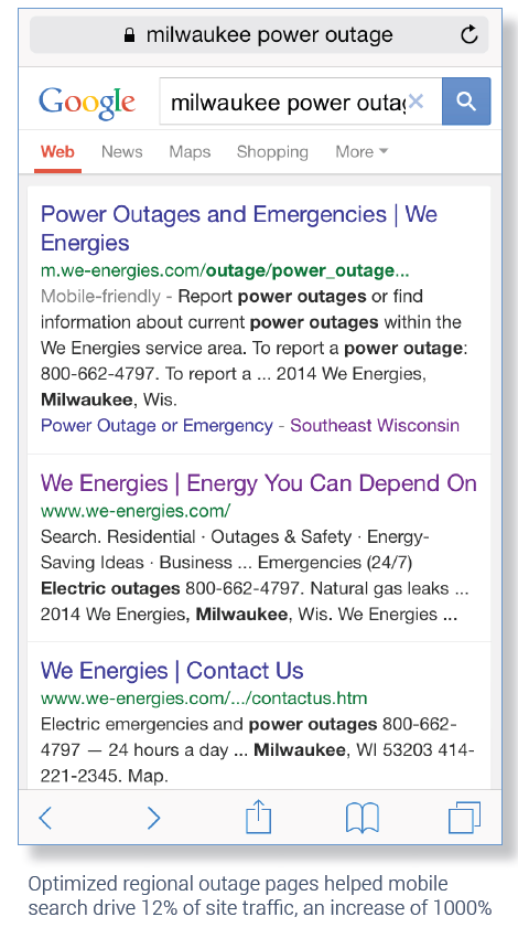 We Energies Increases Mobile Seo Traffic 900 During Power Outages