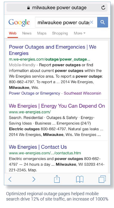 We Energies Increases Mobile SEO Traffic 900% During Power