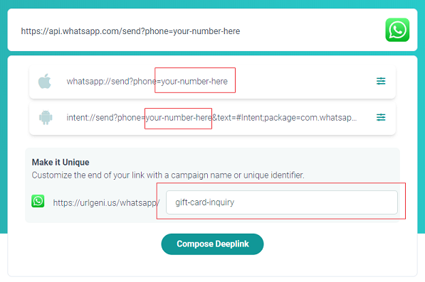Make WhatsApp deep links with pre-populated messages